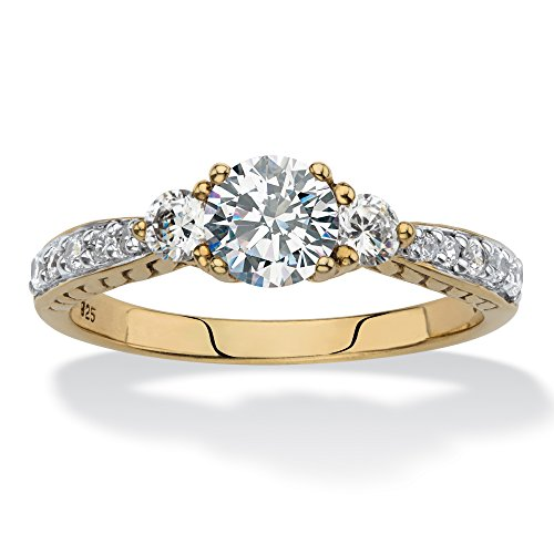 18K Yellow Gold over Sterling Silver Round Created White Sapphire 3-Stone Promise Ring Size 10