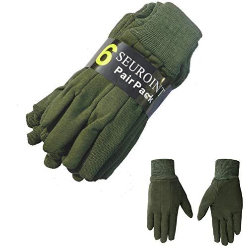 SEUROINT 6 Pairs Pack Cotton Gloves, Premium Garden Gloves, PVC Dots Cotton Work Gloves, Sure-Grip Breathable Gardening Gloves, Medium, Dark Green