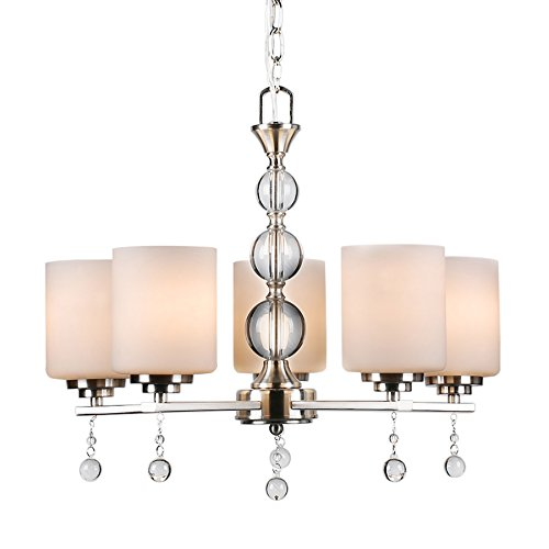 CO-Z Brushed Nickel 5 Light Chandelier Lighting, Contemporary Ceiling Light Fixtures for Dining Room Hallway Living with K9 Crystal Balls, w / Satin Etched Cased Opal Glasss (Contemporary Foyer)