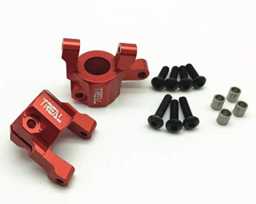 Treal Aluminum C-Hub Carrier Set for Axial SCX10 II RC Car (Red) ()