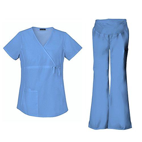 Maternity Flare Pant Scrubs (Cherokee Flexibles Maternity Mock Wrap Top 2892 & Flare Leg Pant 2092 Scrub Set (Ciel - Large/Large Petite))