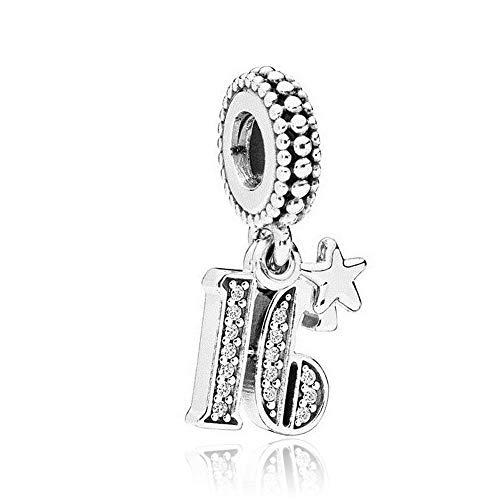 Romántico Amor Sweet 16/21 Years Of Love Charms Happy Birthday Gift Silver Bead fit Pandora Bracelet