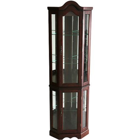 Wooden Corner Curio Cabinet Made from Birch Engineered Wood and Birch Veneer Finished in Rich Mahogany 2 Adjustable Shelves on Top and 1 on Bottom Decorative Arch Top Home Furniture (Mahogany Veneer Top)