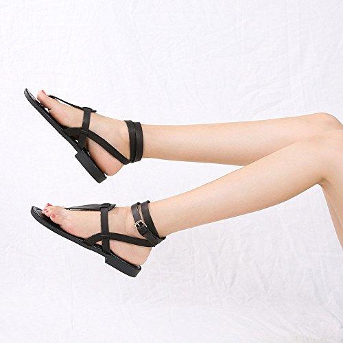 Casual Lacing Mode Flat Summer Sandales Black Roman Buckle Femmes wqFEXOU