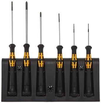 Wera 1578 A/6 Electronics Screwdriver Set and Rack, 6-Piece Set