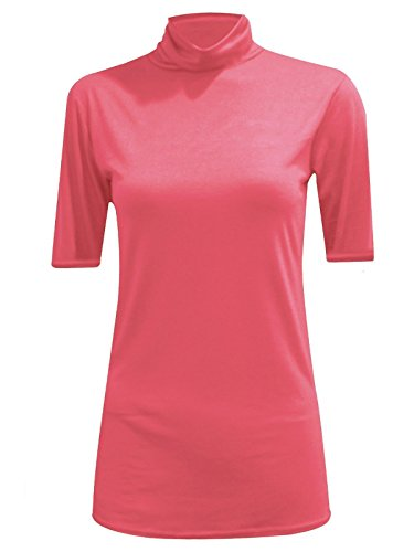 MA ONLINE Womens Fancy Stretch Plain Polo Neck Top Ladies Short Sleeve Turtle Neck Party Jumper Coral US 20-22