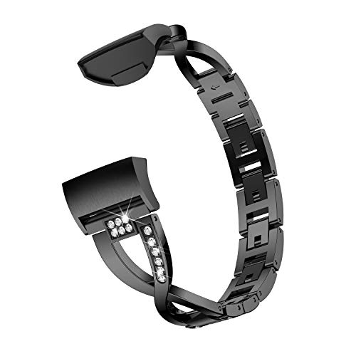 Wenicaca Bling Bands for Fitbit Charge 3,Women Man Stainless Steel Metal Jewelry Bracelet Bangle Wristband.Black