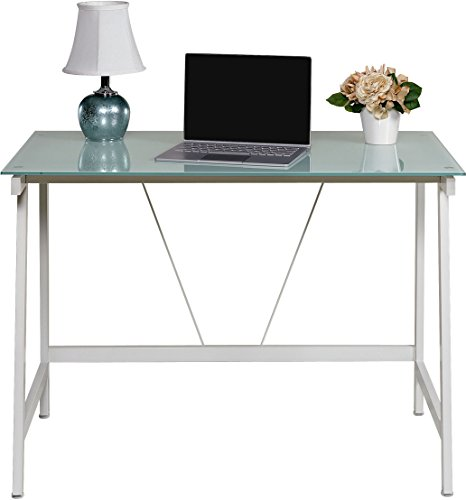 OneSpace Contemporary Glass Writing Desk, Steel Frame, White and Cool Blue - Modern and contemporary fusion design both matches and enhances any décor Makes the best use of small spaces with the working efficiency of much larger desks Ample working surface constructed of durable frosted tempered safety glass - writing-desks, living-room-furniture, living-room - 41BZ42cegLL -