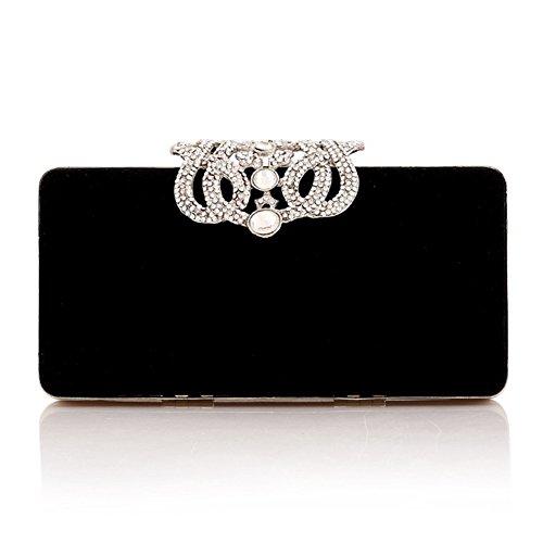 main Sac femmes luxe Coque Parti à Sacs Prom d'embrayage velours sallyshiny Sac cristal Boîte Soirée mariage en couronne noir strass de z6dxff5Fqw