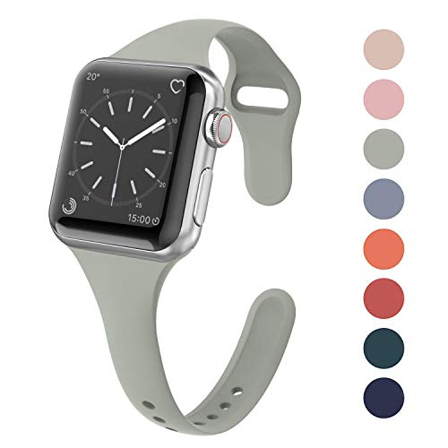 Yutior Sport Silicone Band Compatible Apple Watch 38mm 40mm, Narrow Slim Thin Soft Silicone Small Replacement Strap for iWatch Series 4, Series 3, Series 2, Series 1, Sport, Edition Women, Stone