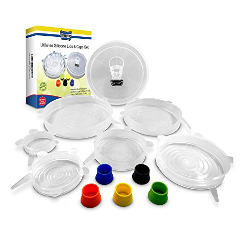 Utilwise Absolute Stretch Silicone Lids & Silicone Bottle Caps Set- 100% BPA Free- Perfect Coverage For Your Containers, Jars, Bowls & Bottles- Adjustable & User Friendly- Plastic Storing Box Included