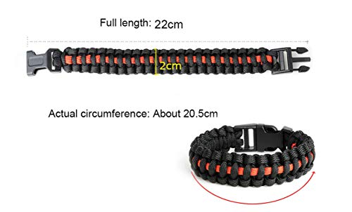 Tea language Outdoor Travel Camping Thin Blue Braided Cobra Weave Plastic Buckle Paracord Survival Bracelet,22.5cm