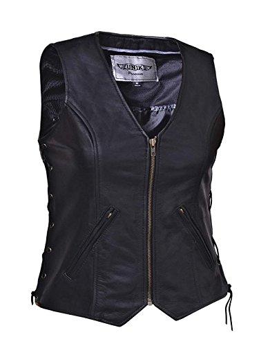 Unik International Ladies Premium Leather Motorcycle Zippered Vest Large from Unik International