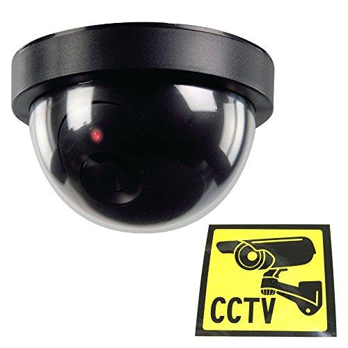 Ex-Pro Dummy Dome Überwachungskamera/ Kameraattrappe, schwarz mit eingebauter rotblinkender LED