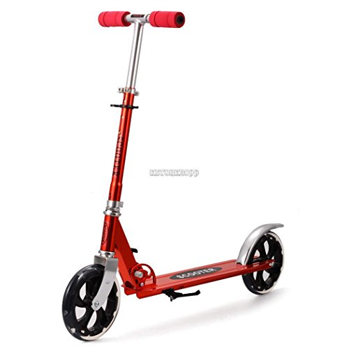 Folding Kick Scooter Kids/Adult 2 Wheels Outdoor Ride Push Exercise Scooter – Red