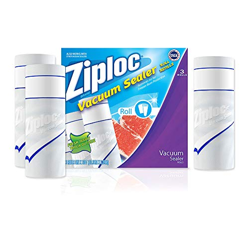 Ziploc ZL38X20PK3 Vacuum Sealer Roll, 8-Inch x 20-Feet, White