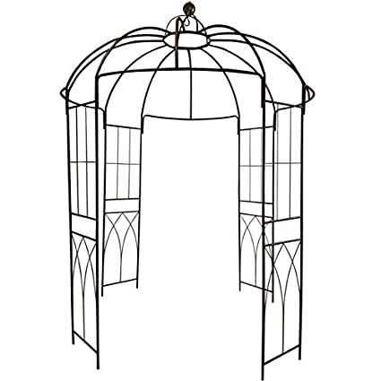 OUTOUR 4-Sided Birdcage Shape Metal Gazebo Trellis Arch Wrought Iron Outdoor Garden Arch Arbor Arbour Gazebo Pavilion Plants Stand Plants Rack for Climbing Vines & Flowers