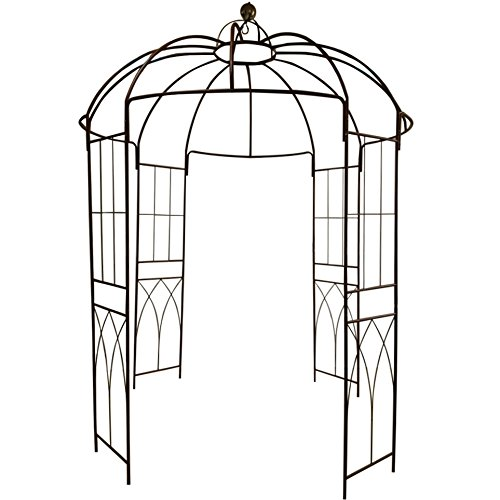 OUTOUR 4-Sided Birdcage Shape Metal Gazebo Trellis Arch Wrought Iron Outdoor Garden Arch Arbor Arbour Gazebo Pavilion Plants Stand Plants Rack for Climbing Vines & Flowers by OUTOUR