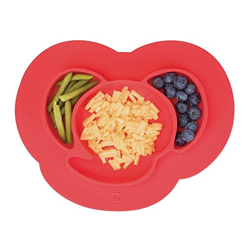 - mDesign Silicone Mini Mealtime Plate and Placemat for Babies, Toddlers, Kids - BPA Free, Food Safe � Stays in Place � 3 Sections - Microwave and Dishwasher Safe, Fun Monkey Design, Cherry Red