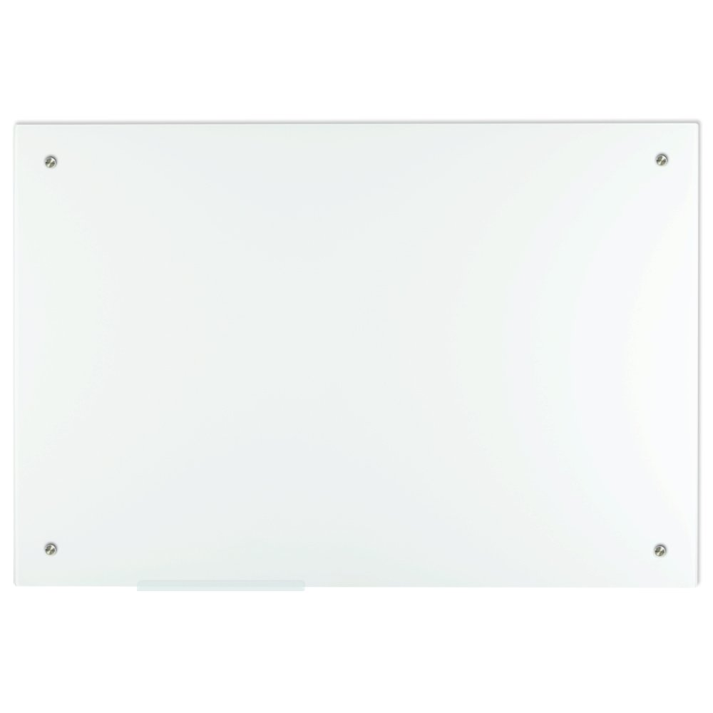 Lockways Magnetic Glass Dry Erase Board – Magnetic Whiteboard / White board 36 x 24, Frameless, Magnets,Clear marker tray, For Office, Home, School