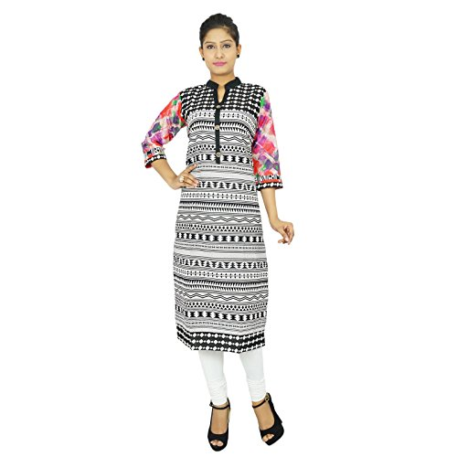 Impreso indio Bollywood Kurta mujeres se visten túnica de algodón ocasional étnico Kurti Negro y rosa