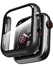حافظة Smiling متوافقة مع Apple Watch Series 6/SE/Series 5/Series 4 44 مم مع واقي شاشة من الزجاج المقوى مدمج - جراب واقي كامل من البولي كربونات الصلب بالكامل