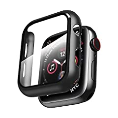 Smiling Case for Apple Watch Series 4 & Series 5 40mm with Buit in Tempered Glass Screen Protector- All Around Hard PC Protective Case High Definition Clear Ultra-Thin Cover for Apple watch Series 4/5 40mm (black)