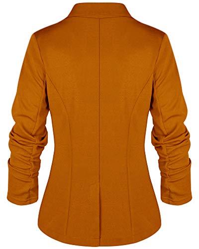 Giacca Blazer Giacche Classic Elastiche Giallo Lavoro Donna Casual Da Socluer Forti Taglie 806qd8w