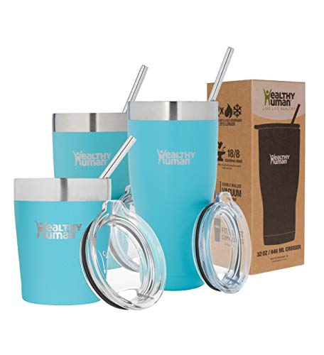 Healthy Human Insulated Stainless Steel Tumbler Travel Cruiser Cup with Straw and Lid 20 oz Glacier
