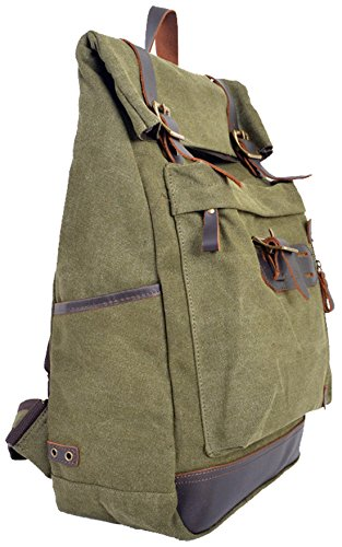 Coolcy New Vintage Rucksack Men/women Casual Canvas Backpack Genuine Leather Laptop Bag Satchel Camping Travel Bag for School 3 Colors (Army Green)