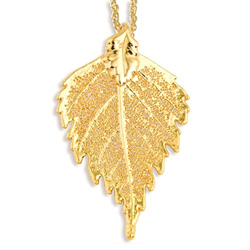 es Collection 24k Gold Dipped Birch Leaf Necklace w/Gold-Tone Chain 20