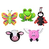 Tenna Tops 5 Pc Pack - Assorted Animal Set of Car Antenna Toppers Antenna Balls Mirror Danglers Auto Accessories (Butterfly - Frog - Ladybug - Cow - Flying Pig) Auto Accessories