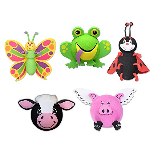Tenna Tops 5 Pc Pack - Assorted Animal Set of Car Antenna Toppers/Antenna Balls/Mirror Danglers/Auto Accessories (Butterfly, Frog, Ladybug, Cow, Flying Pig) Auto Accessories