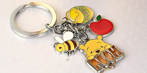 Honey Bear Bee (Cute Cute Pooh Bear Honey Bee Charms Metal Keychain Key Ring Z184-B)