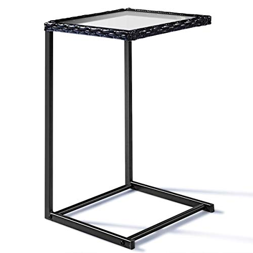 Tangkula Sofa Side Table, C-Shape Snack Table, Coffee Desk Side Table End Table Furniture for Home Office, Steel Construction Rattan PE Wicker Square Glass Top ()
