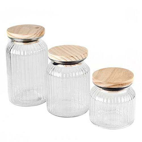 Ribbed Clear Glass 3 Piece Storage Jar Set Blue Harbor Collection