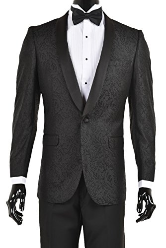 King Formal Wear Premium Slim Fit Tuxedo Blazers-Dinner Jackets (46 Regular, Black Shawl Lapel Slim Fit Paisley Pattern)