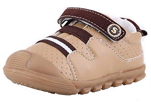 LONSOEN Baby Boys and girls Anti-slip Walking Shoes Toddler Athletic Sneaker BAY001 Brown CN20