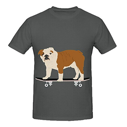 English Bulldog Skateboard Funny Dog Men O Neck Cool Tee Shirts Grey