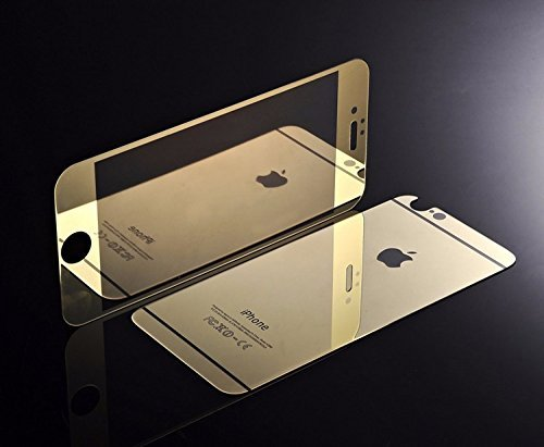 ShopAIS Iphone 6 Plus GOLD - Electroplated Mirror Front + Back Tempered Glass Screen Protector + Transperent Utra-Thin Back Cover worth Rs 199 Free with all orders