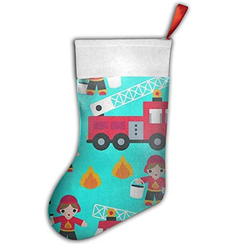 (KSSChr Cartoon Fireman Fire Truck Children's Backpack Little Christmas Stocking,Craft Holiday Hanging Socks Ornaments Decorations Santa Stockings)