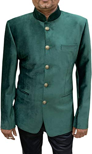 INMONARCH Dark Green Suede Mandarin Collar Nehru Jacket NJ600XL48 48 X-Long Dark Green