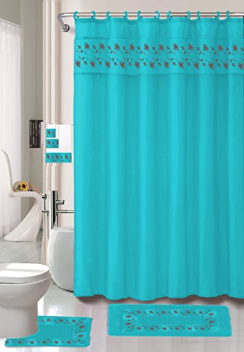 Embroidered Floral Bathroom Curtain Turquoise product image