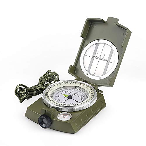 - BIJIA High Accuracy Metal Waterproof Military Lensatic Sighting Compass with Bubble Level,Carrying Bag,Compass for Hiking, Climbing, Boating, Exploring, Hunting, Geology,Army Green