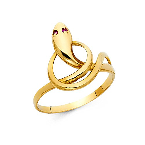 Solid 14k Yellow Gold Snake Ring Curve Band Serpent CZ Eyes Curve Design Polished Finish Fancy, Size ()