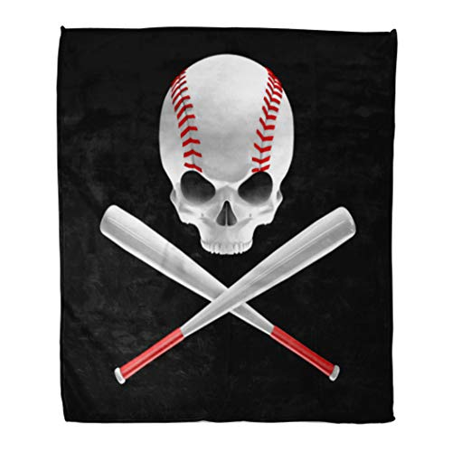 (Emvency Decorative Throw Blanket 60 x 80 Inches Red America Baseball Skull and Bats 3D of Shaped Crossed Ball Warm Flannel Soft Blanket for Couch Sofa Bed)