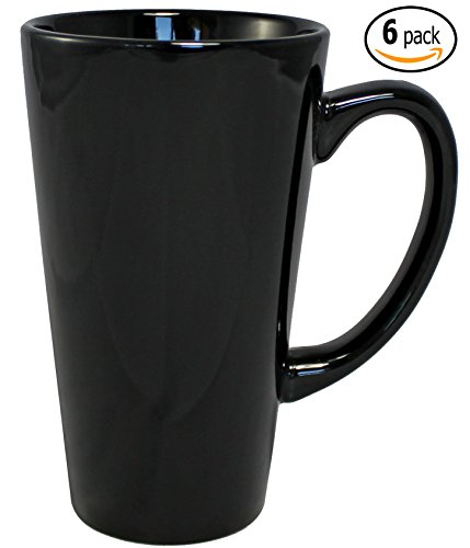 ITI Ceramic Tall Funnel Cup Coffee Mugs with Pan Scraper, 16 Ounce (6-Pack, Black)