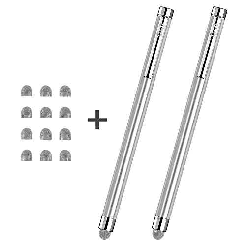 CHAOQ Capacitive Stylus Pens, 2 Pack Mesh Tip Stylus for iPad, iPhone, Samsung, Tablet, Kindle with 12 Extra Replaceable Hybrid Mesh Fiber Tips for Universal Touch Screens Devices - Silver