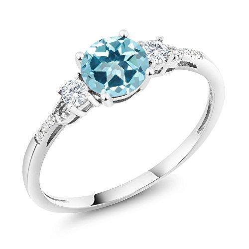 10K White Gold Diamond Accent Set with Ice Blue Topaz from Swarovski 1.15 cttw (Size 7) (Blue Diamond Wedding Ring Set)