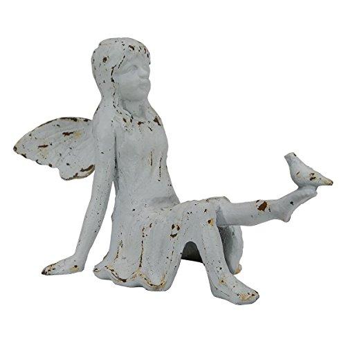 Cast Iron Weathered White Sitting Fairy with Bird Garden Figurine (Sitting Bird)
